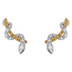 Garrard 'Signature Serpent' White Diamond and Yellow Sapphire Ear Climbers