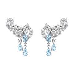 Garrard 'Snapdragon' 18 Karat White Gold Diamond and Aquamarine Climber Earrings