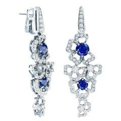 Garrard 'Tudor Rose' 18 Karat Gold White Diamond Blue Sapphire Drop Earrings