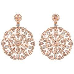 Garrard 'Tudor Rose' 18 Karat Rose Gold and Rose Cut Diamond Drop Earrings