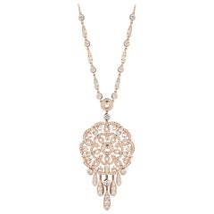 Garrard 'Tudor Rose' 18 Karat Rose Gold and Rose Cut Diamond Necklace