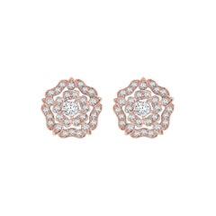 Garrard 'Tudor Rose' 18 Karat Rose Gold Diamond Stud Earrings