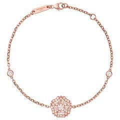 Garrard 'Tudor Rose' 18 Karat Rose Gold Round White Diamond Bracelet