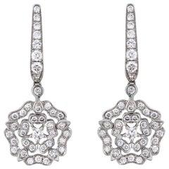 Garrard 'Tudor Rose' 18 Karat White Gold and White Diamond Earrings
