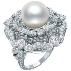 Garrard 'Tudor Rose' 18 Karat White Gold Diamond and Pearl Ring