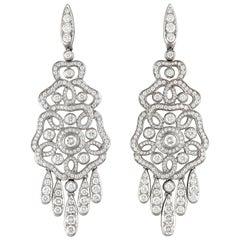Garrard 'Tudor Rose' 18 Karat White Gold Diamond Drop Earrings
