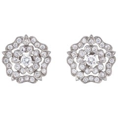 Garrard 'Tudor Rose' 18 Karat White Gold Diamond Stud Earrings