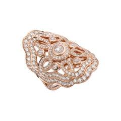 Garrard 'Tudor Rose Bloom' 18 Karat Rose Gold White Diamond Ring