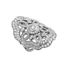 Garrard 'Tudor Rose Bloom' 18 Karat White Gold White Diamond Ring