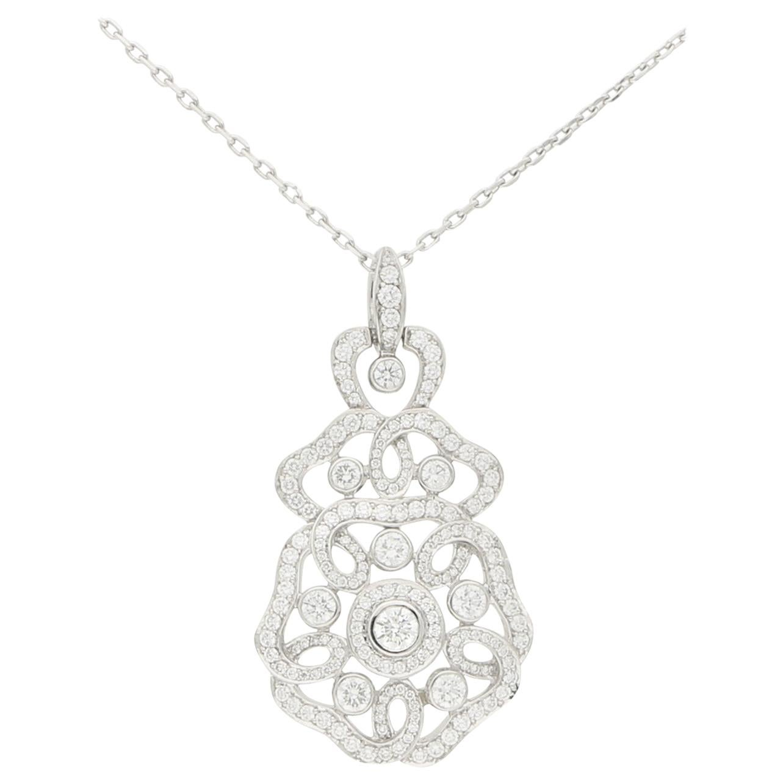 Garrard Tudor Rose Diamond Pendant and Chain Set in 18 Karat White Gold