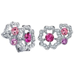 Garrard 'Tudor Rose Petal' 18 Karat White Gold & Diamond Pink Sapphire Earrings