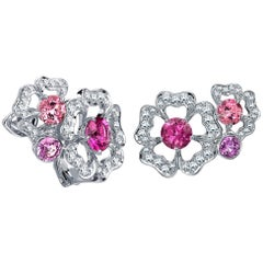 Garrard 'Tudor Rose Petal' 18 Karat White Gold Diamond & Pink Sapphire Earrings