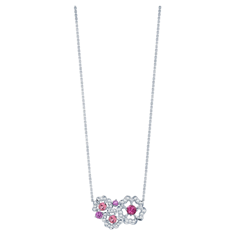 Garrard 'Tudor Rose Petal' 18 Karat White Gold Diamond and Pink Sapphire Pendant