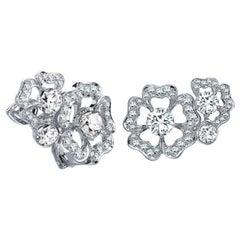 Garrard 'Tudor Rose Petal' 18 Karat White Gold White Diamond Earrings
