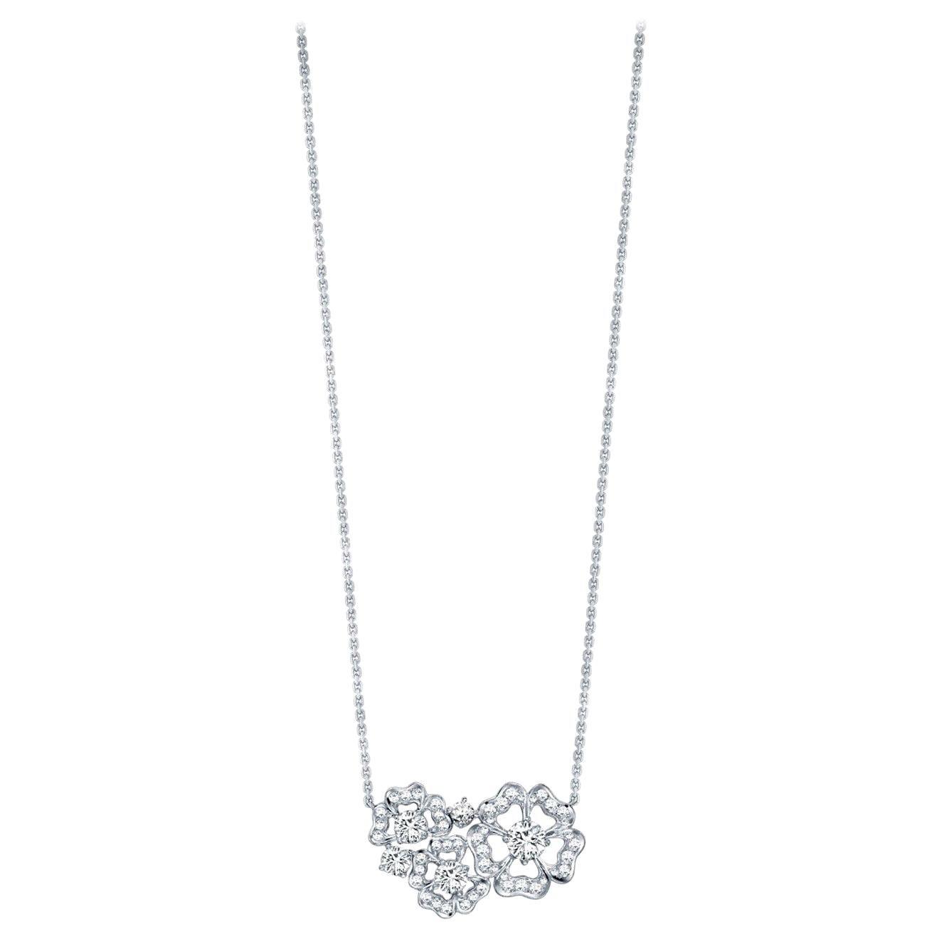 Garrard 'Tudor Rose Petal' 18 Karat White Gold White Diamond Pendant