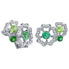 Garrard 'Tudor Rose Petal' Diamond Tourmaline Peridot Green Sapphire Earrings