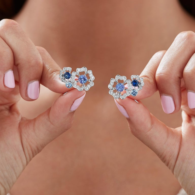 Garrard 'Tudor Rose Petal' White Diamond and Blue Sapphire Earring Climbers In New Condition For Sale In London, London