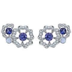 Garrard 'Tudor Rose Petal' White Diamond and Blue Sapphire Earring Climbers