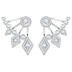 Garrard Twenty Four 18 Karat White Gold White Diamond Ear Climber Stud Earrings