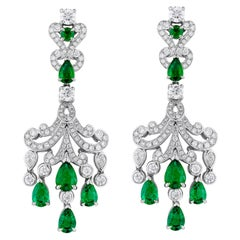 Garrard 'Waterlily' 18 Karat White Gold White Diamond Emerald Drop Earrings