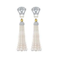 Garrard Bridal White Gold, White Diamond, Yellow Sapphire, Pearl Tassel Earrings