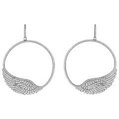 Garrard 'Wings Classic' 18 Karat White Gold White Diamond Hoop Earrings