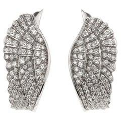 Garrard 'Wings Classic' 18 Karat White Gold White Diamond Wrap Earrings