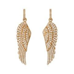 Garrard 'Wings Classic' 18 Karat Yellow Gold White Diamond Large Earrings