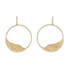 Garrard 'Wings Classic' 18 Karat Yellow Gold White Diamond Large Hoop Earrings