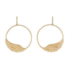 Garrard 'Wings Classic' 18 Karat Yellow Gold White Diamond Large Hoop Earrings