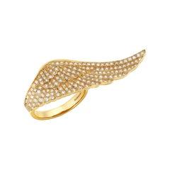 Garrard 'Wings Classic' 18 Karat Yellow Gold White Diamond Large Ring