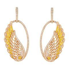 Garrard 'Wings Embrace' 18 Karat Gold Yellow Sapphire and Diamond Earrings
