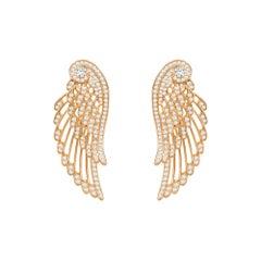 Garrard 'Wings Embrace' 18 Karat Rose Gold White Diamond Double Earrings