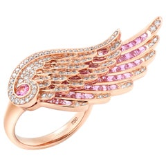 Garrard 'Wings Embrace' 18 Karat Rose Gold White Diamond Pink Sapphire Ring
