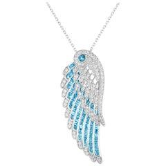 Garrard 'Wings Embrace' 18 Karat White Gold Diamond Aquamarine Double Pendant