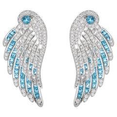 Garrard 'Wings Embrace' 18 Karat White Gold Diamond Aquamarine Earrings