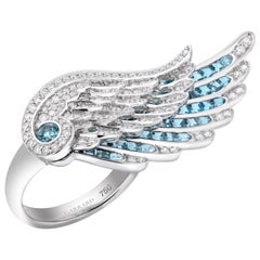 Garrard 'Wings Embrace' 18 Karat White Gold White Diamond Aquamarine Ring