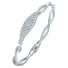 Garrard 'Wings Embrace' 18 Karat White Gold White Diamond Bangle
