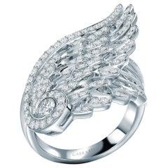 Garrard 'Wings Embrace' 18 Karat White Gold White Diamond Double Ring