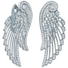 Garrard 'Wings Embrace' 18 karat White Gold White Diamond Drop Earrings