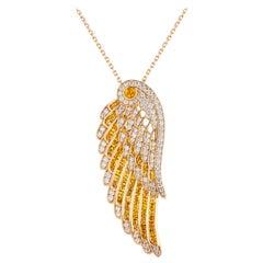 Garrard 'Wings Embrace' 18 Karat Yellow Gold Diamond and Yellow Sapphire Pendant