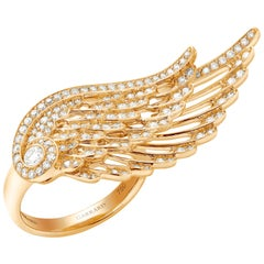 Garrard 'Wings Embrace' 18 Karat Yellow Gold Round White Diamond Ring
