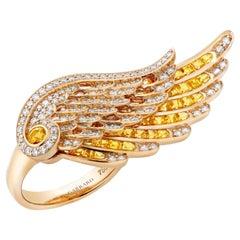 Garrard 'Wings Embrace' 18 Karat Yellow Gold White Diamond Yellow Sapphire Ring