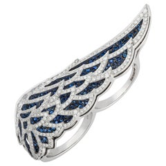 Garrard 'Wings Lace' 18 Karat White Gold White Diamond and Sapphire Double Ring