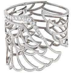 Garrard 'Wings Lace' 18 Karat White Gold White Diamond Wide Bangle
