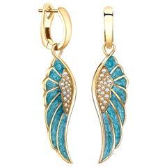 Garrard 'Wings Reflection' 18 Karat Gold White Diamond and Enamel Earrings