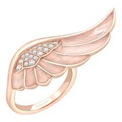 Garrard 'Wings Reflection' 18 Karat Rose Gold White Diamond and Enamel Ring