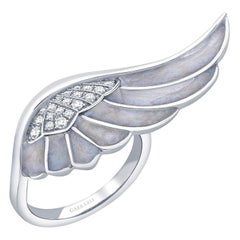 Garrard 'Wings Reflection' 18 Karat White Gold White Diamond and Enamel Ring