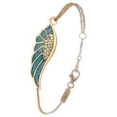 Garrard 'Wings Reflection' 18 Karat White Gold White Diamond and Enamel Bracelet