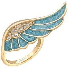 Garrard 'Wings Reflection' 18 Karat Yellow Gold White Diamond and Enamel Ring